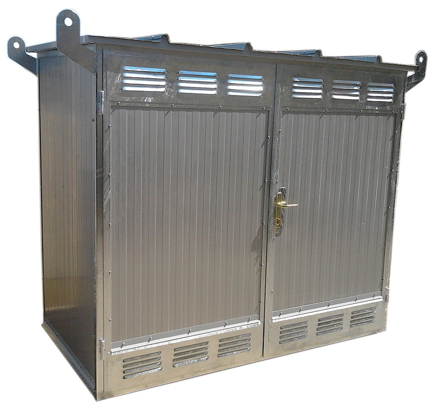 Gas cabinet with sandwich panel with 2 doors